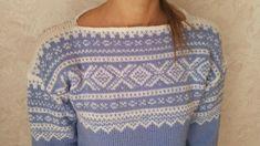 Marius genser (M). Lys blå Fair Isles, Fair Isle Knitting, Sweater Weather, Knits, Diy And Crafts, Woman, Crochet, Pattern, Sweaters