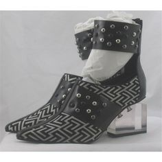 BNIB Jeffrey Campbell, size 5 black & white printed studded block heeled shoes