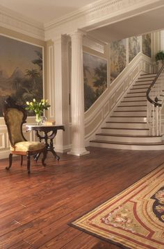 This stunning Victorian Grade HeartPine gives this beautiful entryway a feel of old world elegance and warmth!: