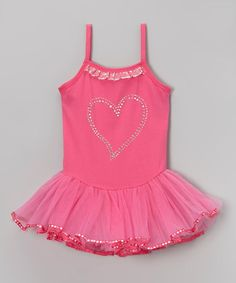 Take a look at this Hot Pink Rhinestone Heart Ballet Dress - Infant, Toddler & Girls by Wenchoice on #zulily today!