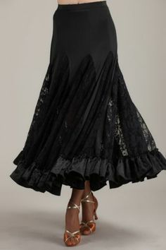 SGS39BK New Ballroom Smooth Tango Flamenco Country Full Length Dance Dress Skirt