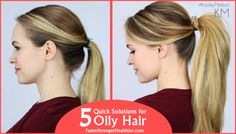 You're in a hurry for a meeting or a night out, and you haven't managed to wash your hair?Here are five quick and easy solutions that will turn your oily hair into a perfect hairstyle. Take a look. #hairstyle #perfect #hair