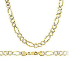 14kt Yellow Gold 3+1 Figaro Chain White Pave 6.0 mm Width 8.0 Inch Long (9.9 Grams) by RG&D....|||| #14kt #gold #figaro #chain #jewelry #metal #goldchain #whitegold #yellowgold #mens #women #fashion #online #shopping #figarochain #goldchain #pintrest #richmondgoldanddiamond