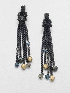 David Yurman 18K Gold & Semi-Precious Multi-Stone Accented Chain Tassel Earrings