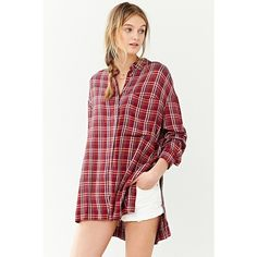 BDG Logan Button-Down Shirt ($20) ❤ liked on Polyvore featuring tops, red, button up tops, button up shirts, red button down shirt, red button up shirt and drape top