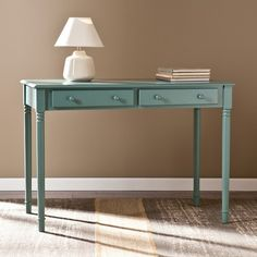 Southern Enterprises 2 Drawer Writing Desk - Light Teal