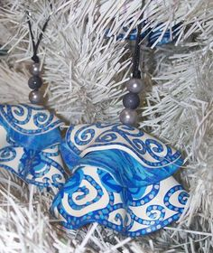#SALE #Etsy Blue and White Refashioned Record Christmas Tree Ornaments 25%OFF Coupon Code OCTOBER25