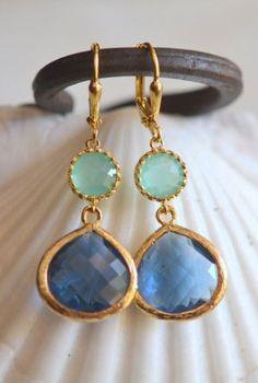 Sapphire Blue Teardrop and Aqua Dangle Earrings in Gold