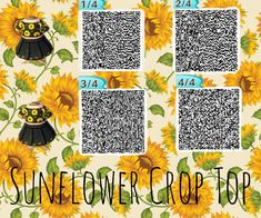 animal crossing qr codes clothes Crop Tops 593278950899883120 - Sunflower Crop Top QR Codes New Ideas Source by xdelraewwww Qr Code Animal Crossing, Animal Crossing Qr Codes Clothes, Animal Crossing Pocket Camp, Animal Crossing Town Tune, Camping Outfits, Camping Fashion, Deco Gamer, Image Mode, Motif Acnl