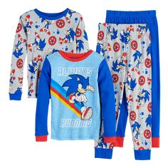 Just in time for the upcoming movie, give his wardrobe a speed boost with these Sonic PJs! Sonic The Hedgehog Running, Sonic Costume, Sonic Birthday Parties, Birthday Gifts, Hedgehog Birthday, Cotton Pyjamas, Matching Shirts, Pj Sets, Pjs