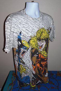 Wolverine vs Sabretooth Shirt Marvel 90s All Over Comic Vintage T-Shirt