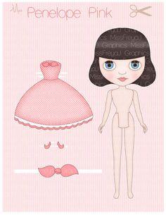 Blythe Inspired Paper Doll  Miss Penelope Pink  by MissFreyaJ, $3.50