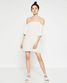 Image 1 of OFF-THE-SHOULDER EMBROIDERED DRESS from Zara