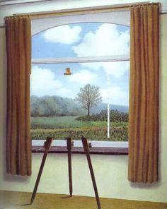 Reproduction de Magritte, La condition humaine. Tableau peint à la main dans nos ateliers. Peinture à l'huile sur toile.