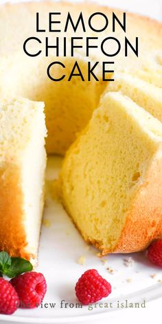 Lemon Chiffon Cake is a light and fluffy lemon sponge cake that's delicious on its own or served with whipped cream and berries. #angelfood #chiffoncake #lemonchiffon #cake #dessert #spongecake Lemon Sponge Cake, Sponge Cake Recipes, Easy Cake Recipes, Sweet Recipes, Baking Recipes, Dessert Recipes, Baking Ideas, Bread Recipes, Lemon Chiffon Cake