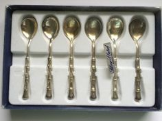Set of 6 Silver Plated Demitasse Bamboo Design Espresso Spoon Set–Made in Italy