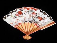 VINTAGE PORCELAIN JAPANESE FAN FLORAL DISH PLATE VANITY