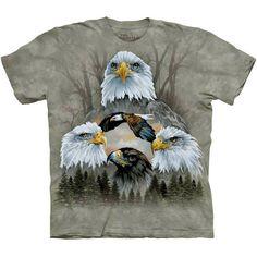 Five Eagle Collage T-Shirt The Mountain Patriotic USA America Art Men's Tee NEW #baldeagle #eagle