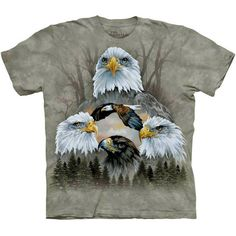 Five Eagle Collage T-Shirt The Mountain Patriotic USA America Art Men's Tee NEW #baldeagle #eagle