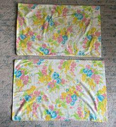 2 Vintage Swinging Floral Flower Bouquet Pillowcases Grant's Fashions Vintage Bedding, Pillowcases, Floral Flowers, Bouquet, Ebay, Pillow Case Dresses, Pillow Shams, Bouquet Of Flowers, Pillow Covers