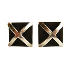 ALLAN ADLER Sterling Silver Criss Cross Cufflinks | From a unique collection of vintage cufflinks at http://www.1stdibs.com/cufflinks/cufflinks/