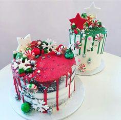 Christmas Cake Designs, Christmas Cake Decorations, Christmas Cupcakes, Christmas Sweets, Holiday Cakes, Holiday Treats, Holiday Baking, Christmas Baking, Fake Cake