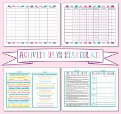 Not sure where to start as an Activity Days Leader or could use some help with organizing? This starter kit is perfect! It has:  Activity Days Starter Kit: *This listing comes as a PDF, Publisher and Microsoft Word File. If you have Microsoft Word on your computer, this listing is also EDITABLE, as long as you download these FREE fonts: http://www.1001freefonts.com/peach.font and http://www.1001freefonts.com/hey_pretty_girl.font  1. Binder Cover Sheet 2. Welcome Page - great if you are a…
