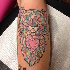 Geometric / crystal cat tattoo