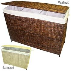 @Overstock - Woven grass hamper is the ideal choice for a flexible and stylish laundry solution. This versatile, 3-section, handcrafted hamper has 3 rich colors to choose from.http://www.overstock.com/Home-Garden/America-Basket-Company-Woven-Maize-3-Section-Lined-Hamper/4721626/product.html?CID=214117 $139.99