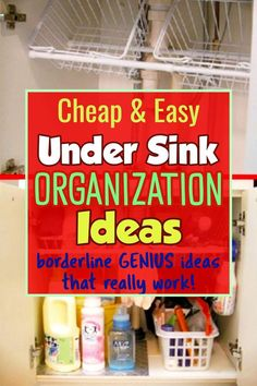 Decluttering ideas for organizing under the kitchen sink on a budget - cheap ways to organize under a sink without feeling overwhelmed or going broke when uncluttering your kitchen. Under Kitchen Sink Organization, Under Kitchen Sinks, Home Organization Hacks, Organizing, Kitchen Cupboards, Kitchen Storage, Getting Organized At Home, Sink Organizer, Budgeting