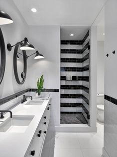 USA contemporary home decor and mid-century modern lighting ideas from DelightFULL Bathroom Tile Designs, Bathroom Interior Design, Kitchen Interior, Bathroom Ideas, Bathtub Ideas, Bathroom Goals, Interior Paint, Interior Decorating, Modern House Design