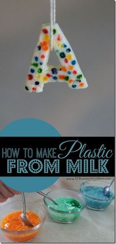 Make Plastic out of Milk science experiment - this is such a fun, easy to make science project that will impress kids (plus complete science explanation included). This kids activities is perfect for your Preschool, Prek, Kindergarten, first grade, second grade, third grade, and fourth grader's summer bucket list, next year's homeschool, or a classroom activity.