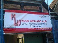 PVC banner til lokal murervirksomhed til brug ved stilladsarbejde