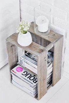 Wooden Crate as Side Table how great is this idea & you could paint it or stain it to your color of choice