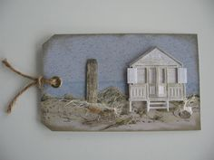 Card tag Beach Sea Seaside Marianne design tiny Beach House  sand Water Label gemaakt.....