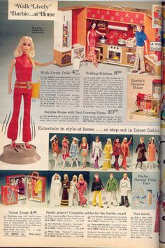 Walk-Lively Barbie and Ward's Exclusive Folding Kitchen Case from the Montgomery Ward Christmas Catalog, c. Vintage Barbie Kleidung, Vintage Barbie Clothes, Vintage Dolls, Vintage Ads, Vintage Stuff, Doll Clothes, Play Barbie, Barbie And Ken, Barbie Stuff