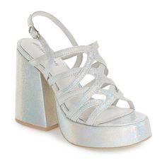 Women's Jeffrey Campbell 'Lelaina' Platform Sandal ($110) ❤ liked on Polyvore featuring shoes, sandals, multi glitter, leather strap sandals, glitter shoes, glitter platform sandals, block heel sandals and platform sandals