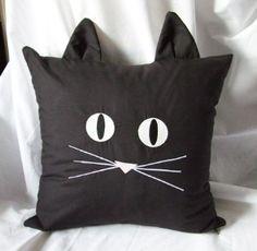 Black Cat Pillow Cover