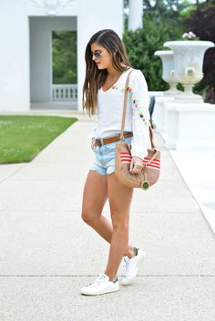 Scallop Hem Denim - tassel blouse, The San beach tote bag, Stan Smith sneakers, spring/summer outfit ideas, fashion blogger, street style - To Be Bright