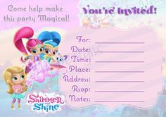 INSTANT DOWNLOAD Shimmer and Shine Fill in by emartisticdesigns