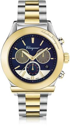 Salvatore Ferragamo Ferragamo 1898 Stainless Steel and Gold IP Men's Chronograph Watch w/Blue Dial