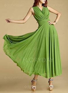 Dresses - $86.72 - Chiffon Solid Sleeveless Maxi Elegant Dresses (1955103787)