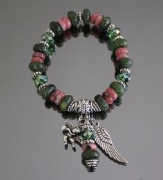 Genuine Jade and Rhodocrosite Bracelet with angel wing by iyildiz, $25.00