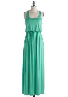 Long Island Sound Dress - Long, Jersey, Green, Solid, Casual, Maxi, Racerback, Scoop, Summer