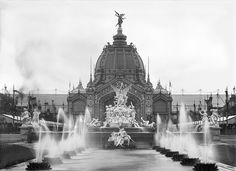 Adolphe Giraudon - View of the Central Dome and the Fountain Coutan, Universal Exhibition, Paris, 1889 (b/w photo)