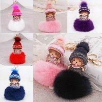 Wish   Fluffy Rabbit Fur Ball Monchhichi Crystal Rhinestone Pendant Handbag Charms Keychain Key Ring