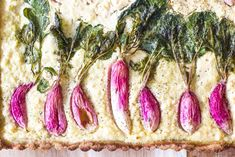 A spring time paleo radish tart made with almond flour and vegan ricotta. Pastry Recipes, Paleo Recipes, Sweet Recipes, Dessert Recipes, Vegan Ricotta, Glazed Carrots, Vegan Appetizers, Healthy Side Dishes, Filipino Recipes