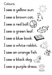 Learners can colour in the different objects themselves and learn the names of the colours when they read the sentences afterwards. English Activities For Kids, English Worksheets For Kindergarten, English Lessons For Kids, Kindergarten Reading, Kindergarten Worksheets, French Lessons, Spanish Lessons, Reading Comprehension Worksheets, English Reading
