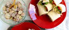 lunch!! avocado nicoise wrap with new potato salad