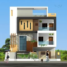 By Architects+ Modern House Front Elevation Stories House Exterior Help. 3 Storey House Design, Duplex House Design, House Front Design, Duplex House Plans, Modern House Design, Front Elevation Designs, House Elevation, Building Elevation, D House